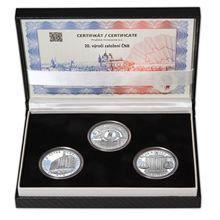 20. VÝROČÍ ZALOŽENÍ ČNB A VZNIK ČESKÉ MĚNY – návrhy mince 200,-Kč - sada tří Ag medailí 34mm Proof